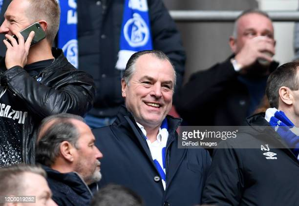Chairman of the supervisory board Clemens Toennies of FC Schalke 04 laughs prior to the Bundesliga match between FC Schalke 04 and TSG 1899...