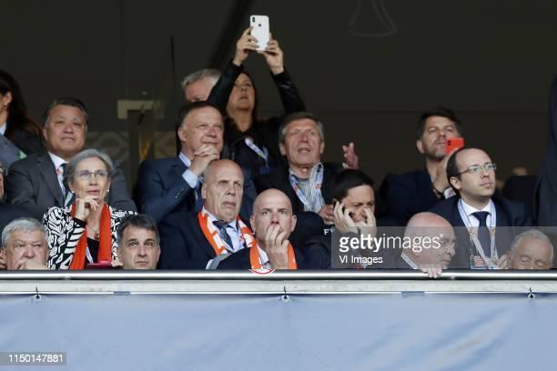 Chairman of the Supervisory Board Jan Smit, KNVB secretary seneral Gijs de Jong, KNVB chairman Michael van Praag during the UEFA Nations League final...