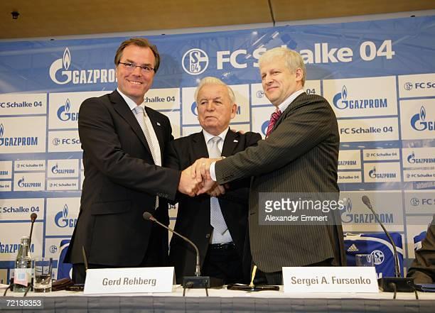 Chairman of the supervisory board of Schalke 04 Clemens Toennies President Gerd Rehberg of Schalke 04 and President Sergej Fursenko of FC Zenith...