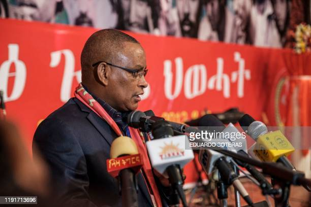 Chairman of the Tigray People's Liberation Front Debretsion Gebremichael delivers a speech during the TPLF First Emergency General Congress in...