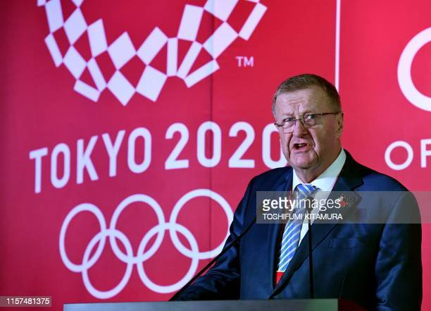 Chairman of the Tokyo 2020 Olympic Games coordination committee, John Coates, delivers a speech during a ceremony to unveil the one-year countdown...