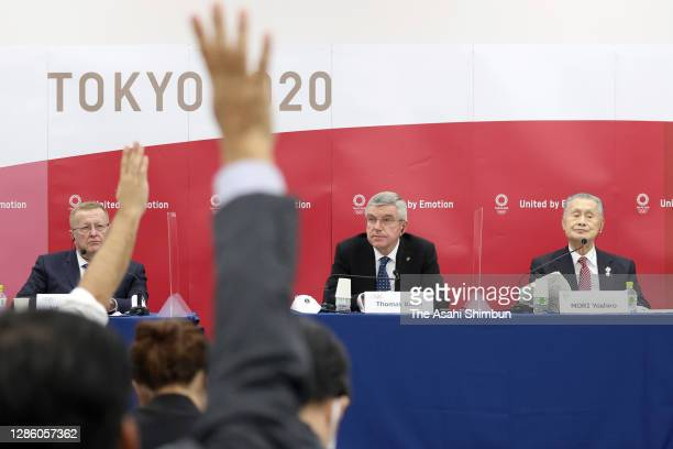 Chairman of the Tokyo 2020 Olympic Games coordination committee John Coates , International Olympic Committee President Thomas Bach and President of...