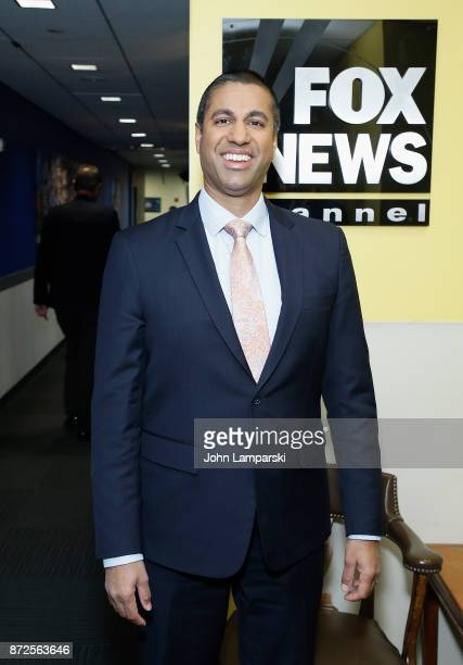 Chairman of the United States Federal Communications Commission Ajit Varadaraj Pai visits Fox Business Network at FOX Studios on November 10 2017 in...