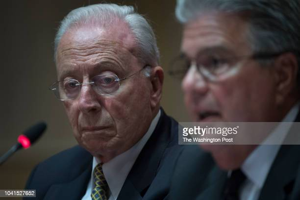 Chairman of the University System of Maryland James Brady and Chancellor Robert Caret under scrutiny at a legislative hearing in Annapolis MD on...