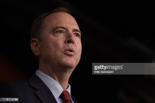 Chairman of the US House Permanent Select Committee on Intelligence Adam Schiff holds a press conference with Speaker of the House Nancy Pelosi on...