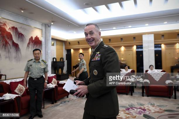 Chairman of the US Joint Chiefs of Staff General Joseph Dunford meets Chinese vice chairman of the Central Military Commission Fan Changlong in...