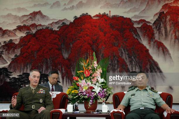 Chairman of the US Joint Chiefs of Staff General Joseph Dunford meets with Chinese vice chairman of the Central Military Commission Fan Changlong in...