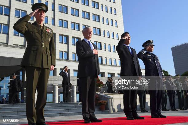 Chairman of the US Joint Chiefs of Staff General Joseph Dunford US Secretary of Defense Jim Mattis South Korea's Defence Minister Song YoungMoo and...