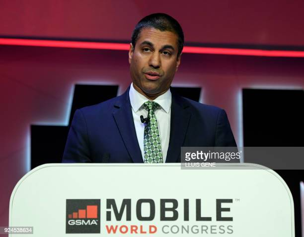 Chairman of the USA Federal Communications Commission US telecommunications director Ajit Pai gives a press conference on the first day of the Mobile...
