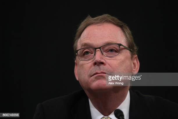 Chairman of the White House Council of Economic Advisors Kevin Hassett testifies during a hearing before the US Congress Joint Economic Committee...