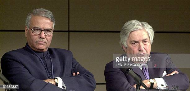 Chairman of the World Bank Development Committee and Indian Finance Minister Yashwant Sinha and World Bank President James Wolfensohn listen to a...