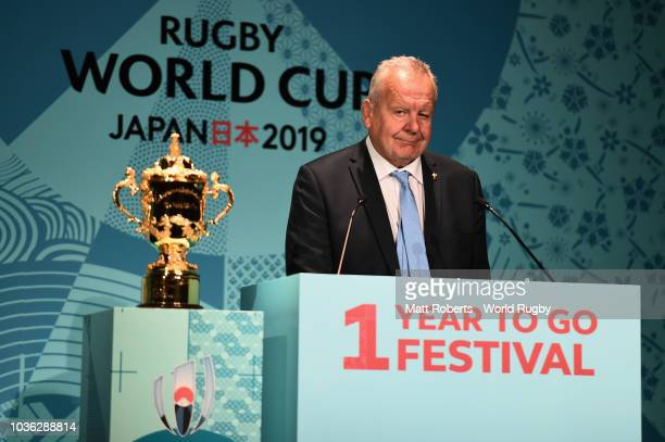Chairman of the World Rugby via Getty Images Bill Beaumont speaks on stage during the Rugby World Cup One Year To Go at Meiji Kinenkan on September...