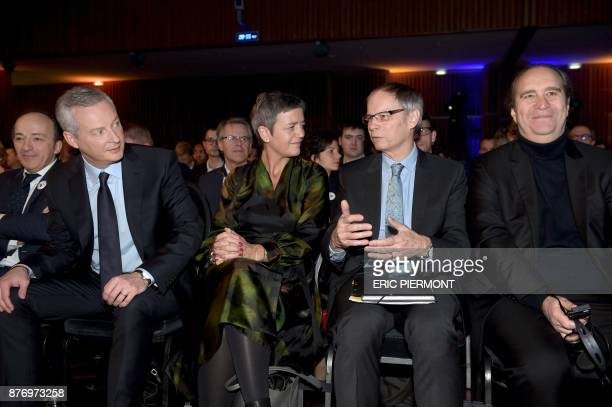 Chairman of think tank Terra Nova Thierry Pech French Economy Minister Bruno Le Maire European Commissioner for competition Margrethe Vestager...