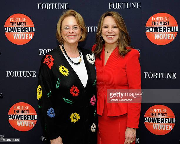 Chairman of Time, Inc, Ann Moore and actress Marlo Thomas attend the Fortune Most Powerful Women summit at Mandarin Oriental Hotel on October 5, 2010...