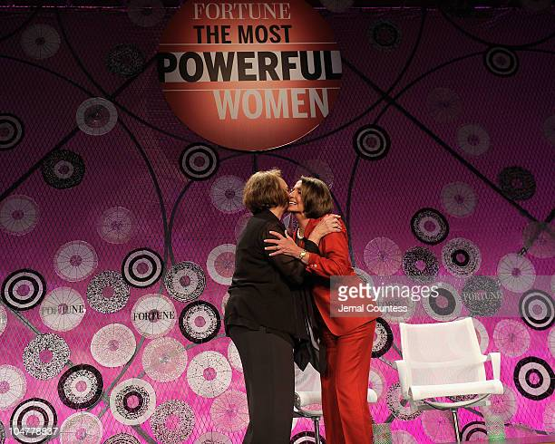 Chairman of Time, Inc, Ann Moore and U.S. Speaker of the House Rep. Nancy Pelosi attend the Fortune Most Powerful Women summit at Mandarin Oriental...