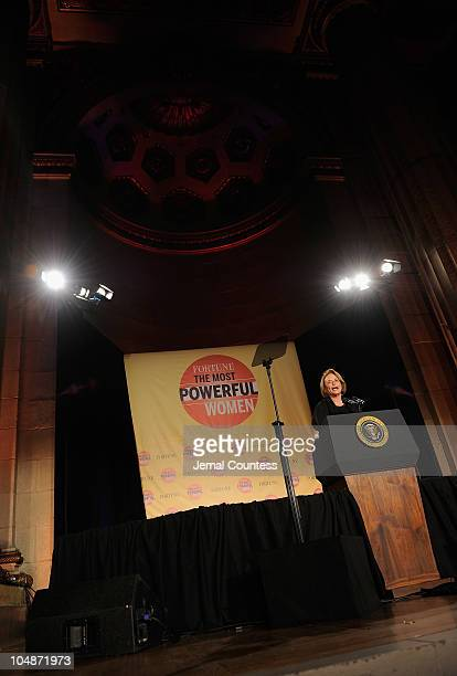 Chairman of Time, Inc, Ann Moore introduces US President Barack Obama at the 2010 Fortune Most Powerful Women Summit at the Mellon Auditorium October...