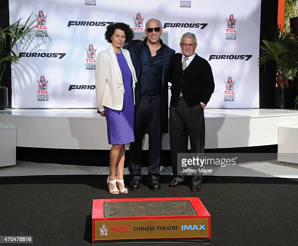 Chairman of Universal Pictures Donna Langley actor Vin Diesel and NBCUniversal Vice Chairman Ron Meyer attend Vin Diesel's Hand and Footprint...