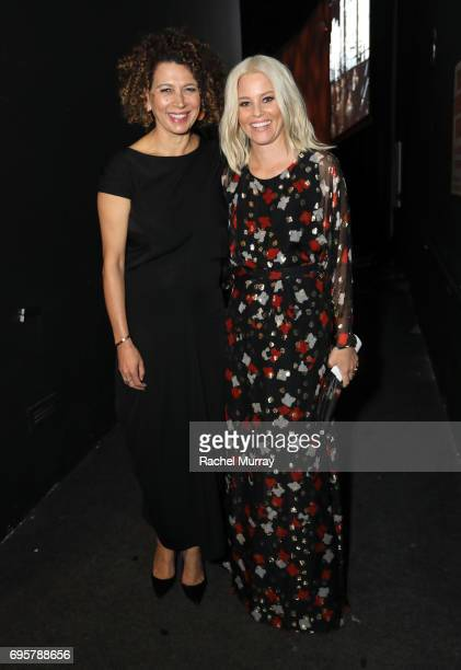 Chairman of Universal Pictures Donna Langley and actress and The Crystal Award for Excellence in Film Honoree Elizabeth Banks wearing Max Mara attend...