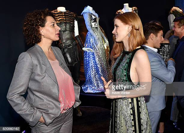 Chairman of Universal Pictures Donna Langley and actress Jessica Chastain attend the premiere of Universal Pictures' The Huntsman Winter's War at the...