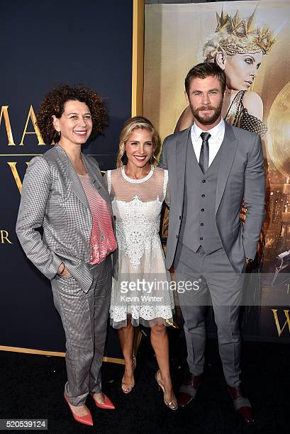 Chairman of Universal Pictures Donna Langley model Elsa Pataky and actor Chris Hemsworth attend the premiere of Universal Pictures' The Huntsman...