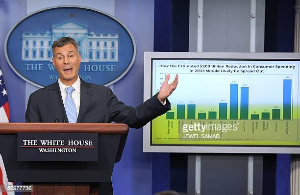 Chairman of US President Barack Obama's Council of Economic Advisers Alan Krueger speaks during a press briefing at the White House in Washington DC...