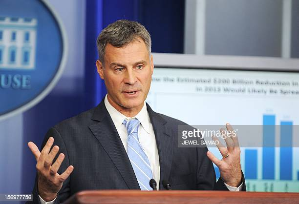 Chairman of US President Barack Obama's Council of Economic Advisers Alan Krueger speaks during a press briefing at the White House in Washington on...