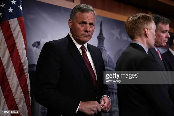 Chairman of US Senate Intelligence Committee Sen Richard Burr listens during a news conference at the Capitol March 20 2018 in Washington DC The...