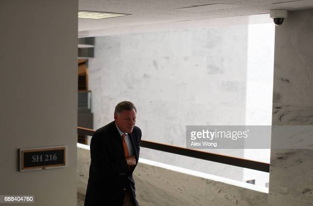 Chairman of US Senate Select Intelligence Committee Sen Richard Burr leaves after a meeting May 25 2017 on Capitol Hill in Washington DC The...