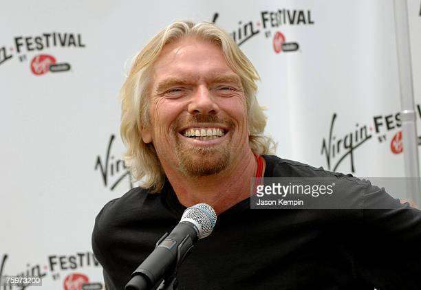 Chairman of Virgin Group Sir Richard Branson during a press conference at the Green Spot during the Virgin Festival By Virgin Mobile 2007 at Pimlico...