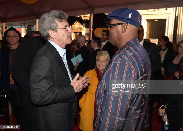Chairman of Walt Disney Studios Alan Horn and Samuel L Jackson attend the premiere of Disney and Pixar's 'Incredibles 2' at the El Capitan Theatre on...