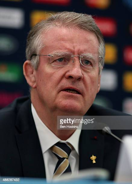 Chairman of World Rugby Bernard Lapasset speaks during a Rugby World Cup 2015 Media Briefing at Twickenham Stadium on September 15 2015 in London...