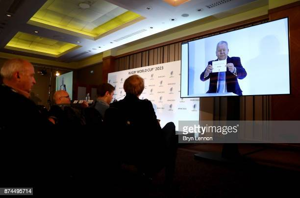 Chairman of World Rugby, Bill Beaumont during the Rugby World Cup 2023 Host Decision at Royal Garden Hotel on November 15, 2017 in London, England.