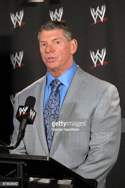 Chairman of World Wrestling Entertainment Vince McMahon attends the World Wrestling Entertainment 'Denver Debacle' press conference at the Hard Rock...