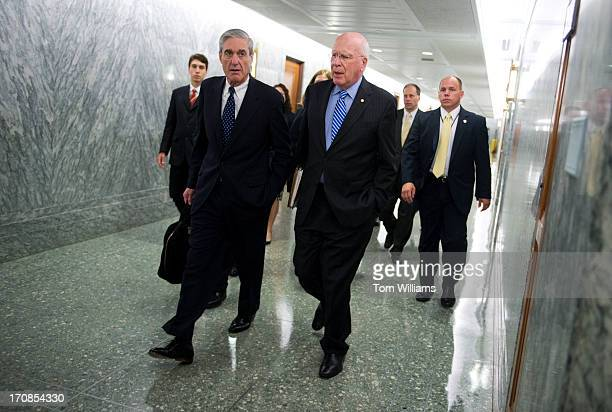 Chairman Pat Leahy DVt right and FBI Director Robert Mueller make their way to a Senate Judiciary Committee hearing in Dirksen Building on oversight...