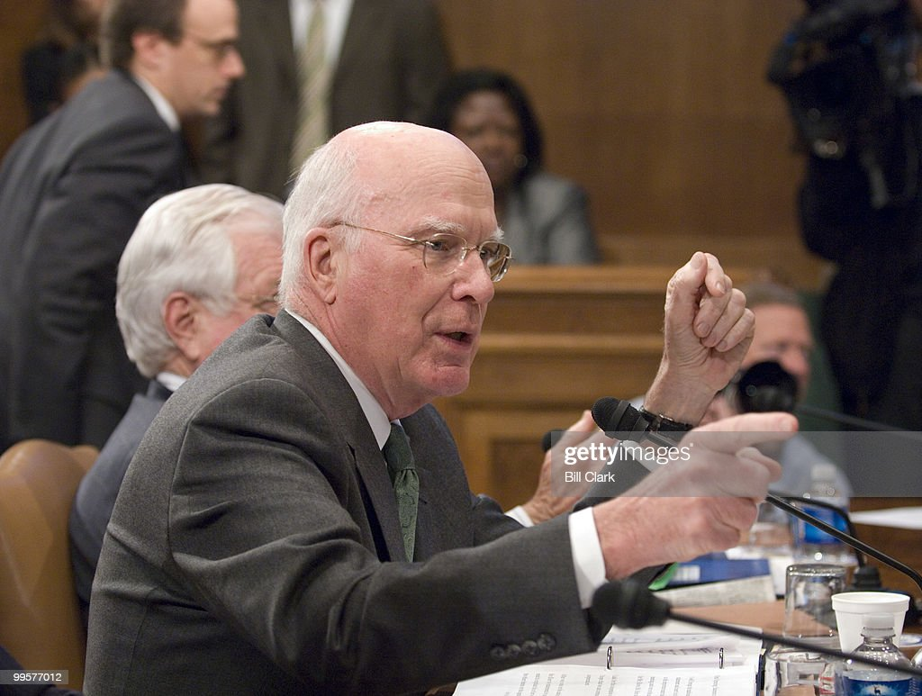 Chairman Patrick Leahy, D-Vt., manages the debate before the Senate Judiciary Committee voted to authorize subpoenas for Bush administration officials to aide the investigation of the firing of federal prosecuters on Thursday, March 22, 2007.