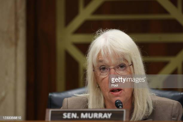 Chairman Patty Murray, makes her opening statement before testimony by Xavier Becerra, Secretary of the Department of Health and Human Services ,...