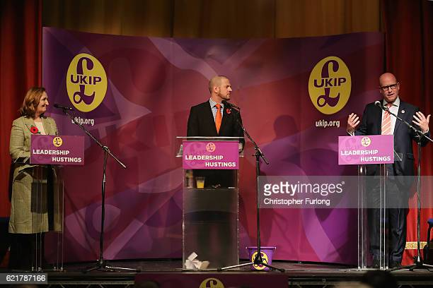 UKIP chairman Paul Oakden hosts the UKIP leadership hustings with Suzanne Evans and Paul Nuttall at the Guisleley Theatre during the UKIP leadership...