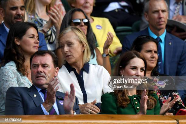 Chairman Philip Brook and Catherine, Duchess of Cambridge attend the Royal Box during Day twelve of The Championships - Wimbledon 2019 at All England...