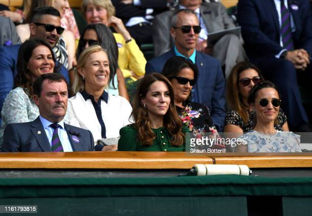 Chairman Philip Brook, Catherine, Duchess of Cambridge, and Pippa Middleton attend the Royal Box during Day twelve of The Championships - Wimbledon...