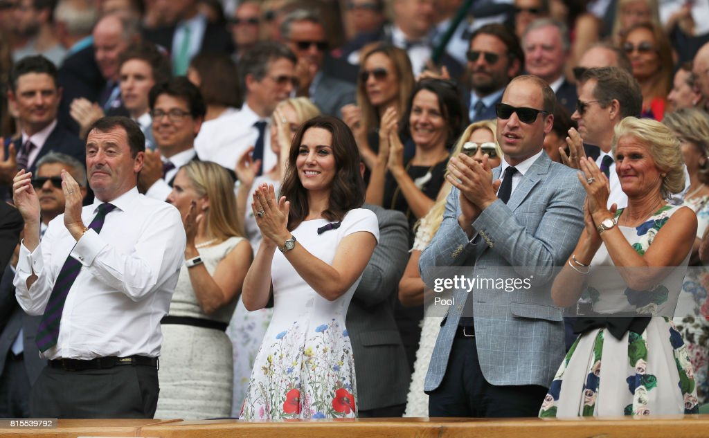 Chairman Philip Brook, Prince William, Duke of Cambridge and Catherine, Duchess of Cambridge and Gill Brook applaud from the centre court royal box after the Gentlemen's Singles final between Roger Federer of Switzerland and Marin Cilic of Croatia on day thirteen of the Wimbledon Lawn Tennis Championships at the All England Lawn Tennis and Croquet Club at Wimbledon on July 16, 2017 in London, England.