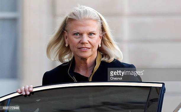 Chairman President and CEO at IBM Virginia Rometty leaves after her meeting with French President Francois Hollande at the Elysee Palace on September...
