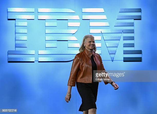 Chairman President and CEO Ginni Rometty arrives at her keynote address at CES 2016 at The Venetian Las Vegas on January 6 2016 in Las Vegas Nevada...
