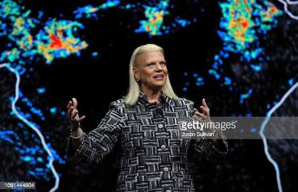 Chairman President and CEO Ginni Rometty delivers a keynote address at CES 2019 at The Venetian Las Vegas on January 8 2019 in Las Vegas Nevada CES...