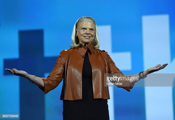 Chairman President and CEO Ginni Rometty delivers a keynote address at CES 2016 at The Venetian Las Vegas on January 6 2016 in Las Vegas Nevada CES...