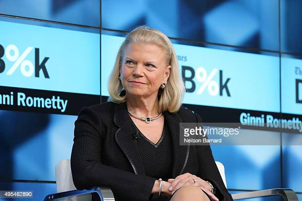 Chairman President and CEO of IBM Ginni Rometty participates in a panel discussion at the New York Times 2015 DealBook Conference at the Whitney...