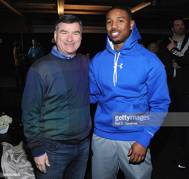 Chairman President CEO Michael White and actor Michael B Jordan attend the DirecTV Beach Bowl at Pier 40 on February 1 2014 in New York City