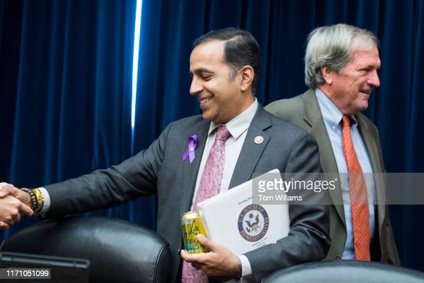 Chairman Raja Krishnamoorthi DIll left and Rep Mark DeSaulnier DCalif arrive for the House Oversight and Reform Subcommittee on Economic and Consumer...