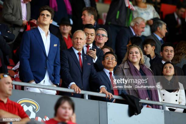 Chairman Ralph Kruger new majority Owner Jisheng Gaoduring and part owner Katharina Liebherr ahead of the Premier League match between Southampton...