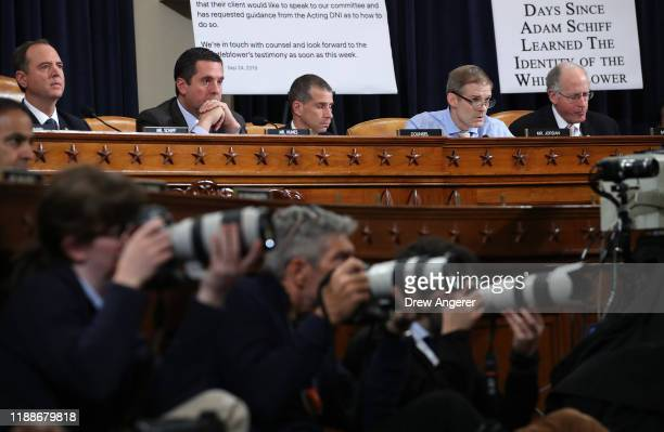 Chairman Rep Adam Schiff ranking member Rep Devin Nunes minority counsel Steve Castor Rep Jim Jordan and Rep Mike Conaway listen as Lt Col Alexander...