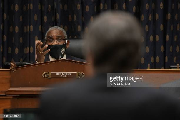 """Chairman Rep. Gregory W. Meeks speaks to US Secretary of State Antony Blinken as he testifies before the House Committee on Foreign Affairs on """"The..."""